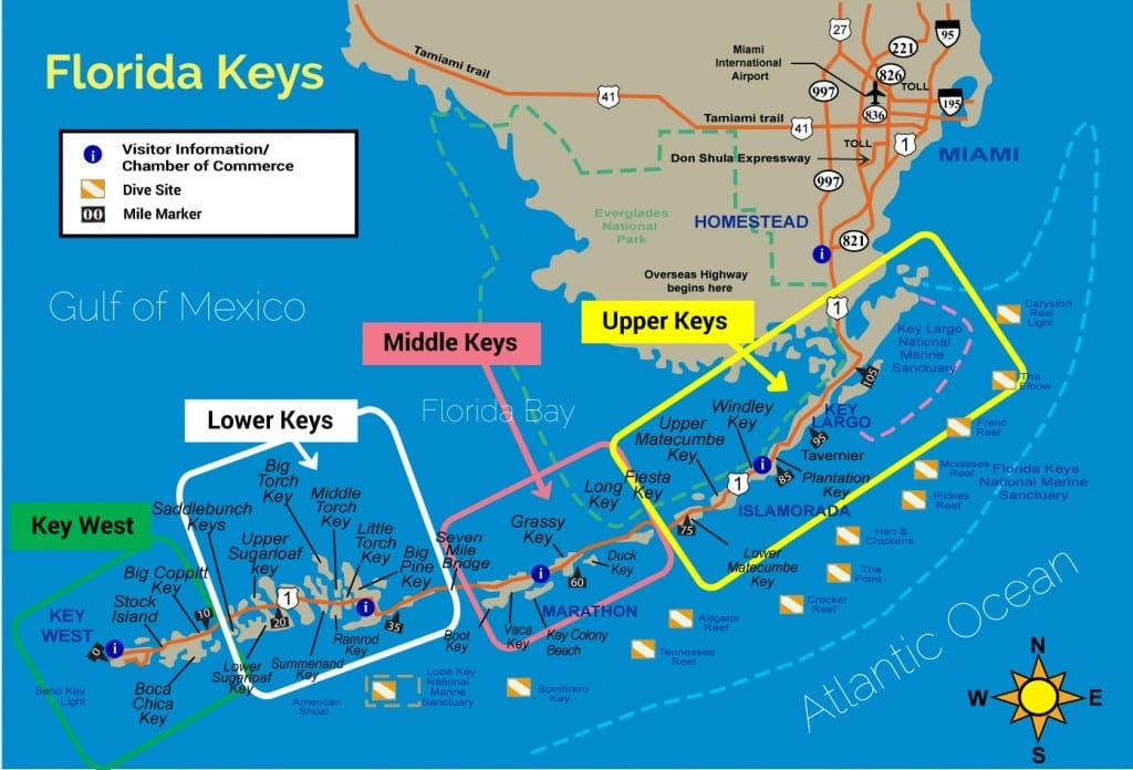 Map of areas served by Florida Keys Vacation Rentals